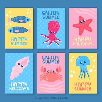 Cute collection of cards with sea animals