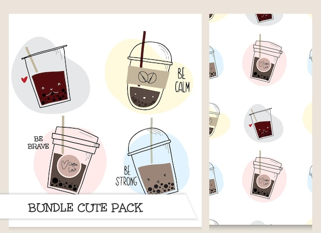 Cute collection cartoon bubble tea character with seamless pattern