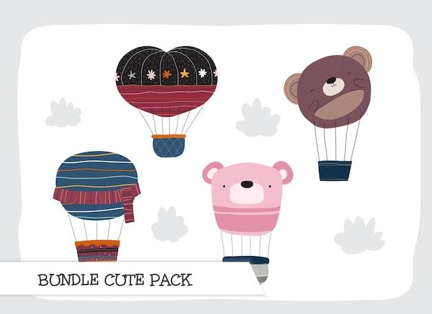 귀여운 컬렉션 만화 플랫 공기 풍선 패턴 세트