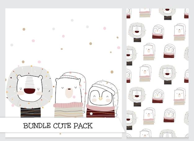 Cute collection cartoon flat animal set