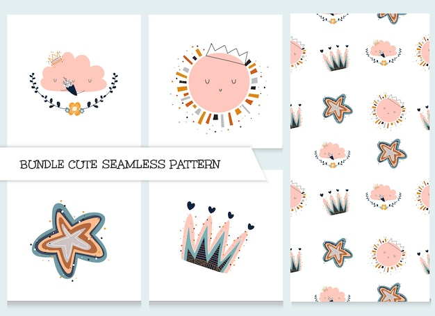 Cute collection cartoon flat animals pattern set