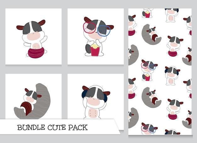 귀여운 컬렉션 만화 플랫 아기 암소 패턴 세트