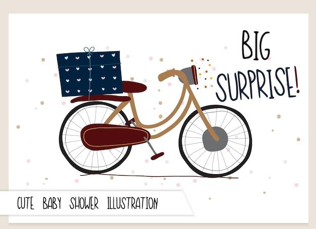 귀여운 컬렉션 만화 플랫 자전거 그림