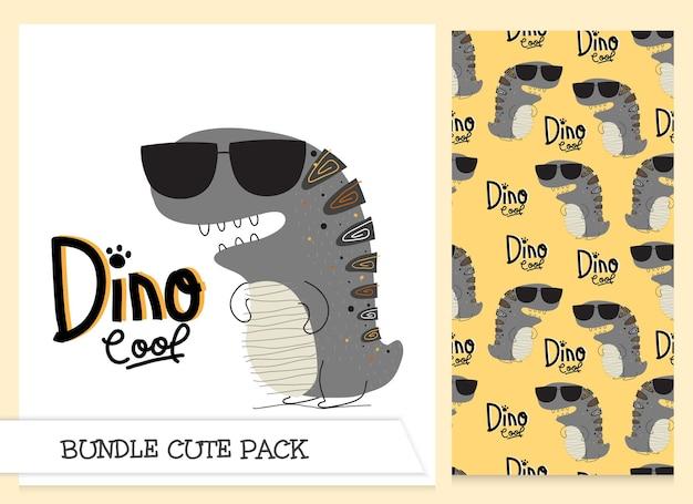 귀여운 컬렉션 만화 플랫 디노 멋진 패턴 세트