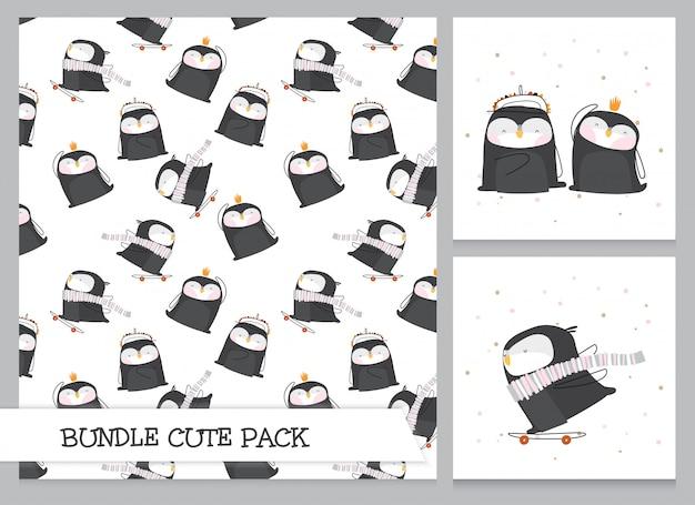 귀여운 컬렉션 만화 플랫 펭귄 패턴 세트
