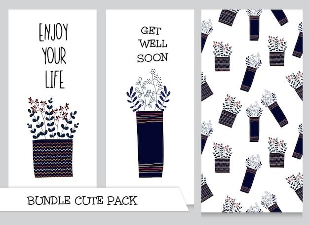 귀여운 컬렉션 만화 플랫 식물 패턴 세트