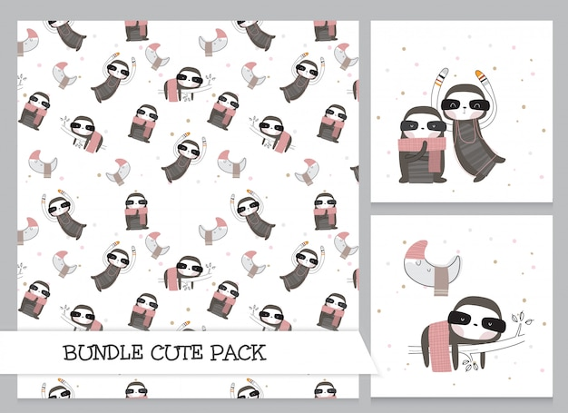 Симпатичная коллекция мультяшных плоских ленивцев