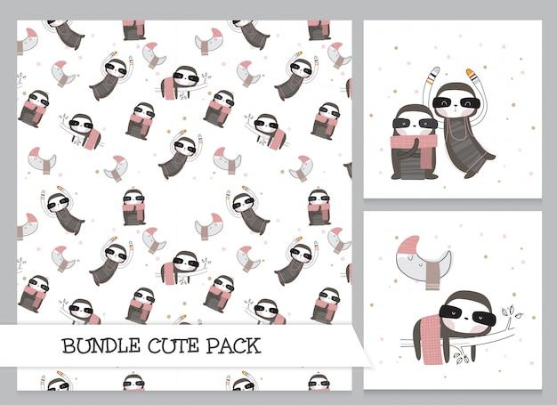 Cute collection cartoon flat sloth pattern set