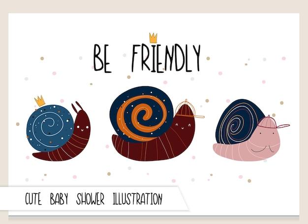 Cute collection cartoon flat snail illustration