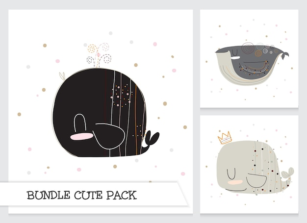 Cute collection cartoon flat whale pattern set