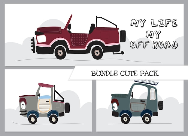 Cute collection cartoon off road car illustration