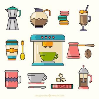 Carino raccolta di elementi di caffè