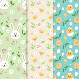Cute collection of easter seamless patterns