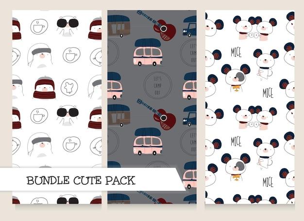 귀여운 컬렉션 플랫 디자인 아이 패턴 세트
