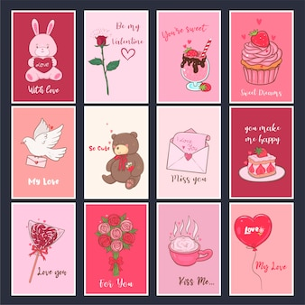 발렌타인 데이를위한 귀여운 컬렉션. 축제 카드 세트.
