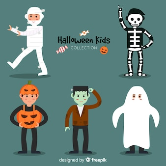 Cute collection of halloween kids characters