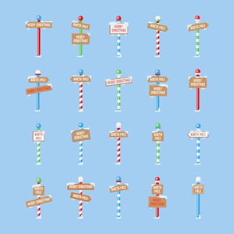 Cute collection of north pole signs or christmas.