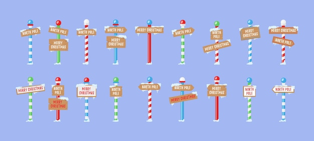 Cute collection of north pole signs or christmas
