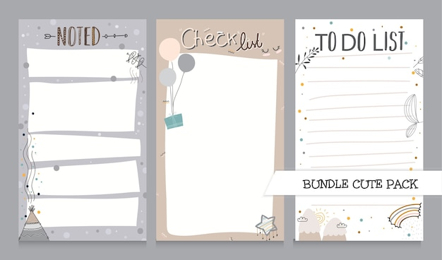 Cute collection of noted list and to do list template