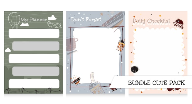 Cute collection of noted list and to do list templates beauty