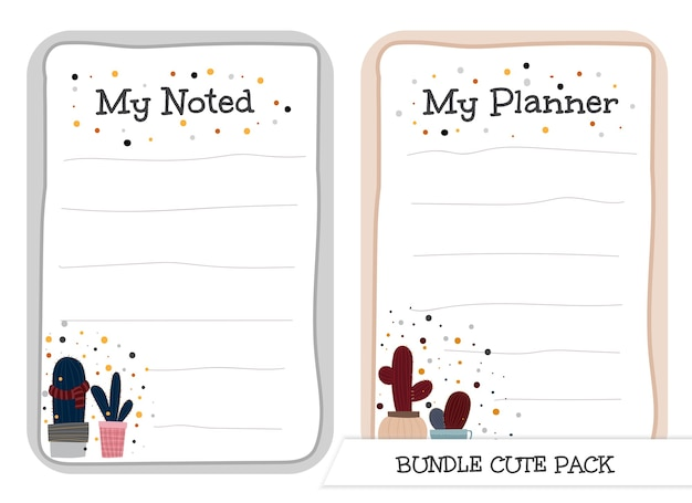 Cute collection of noted and planner list template