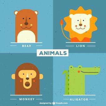 동물 얼굴의 귀여운 컬렉션