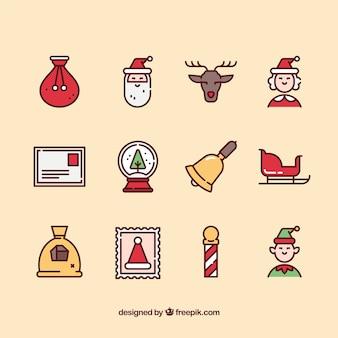 サンタクロースアイコンのかわいいコレクション