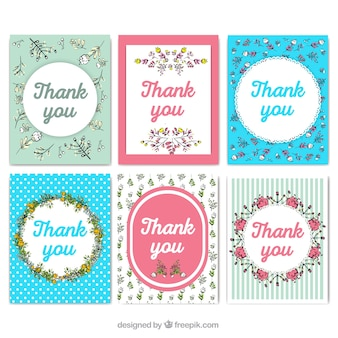 빈티지 스타일의 감사 카드의 귀여운 컬렉션