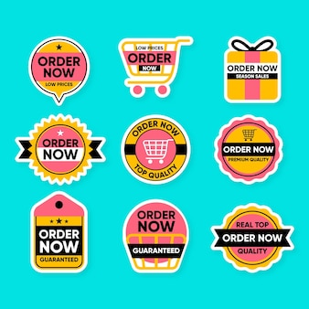 Cute collection of order now stickers