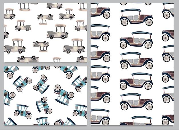 かわいいコレクションパック車両車シームレスパターンセット