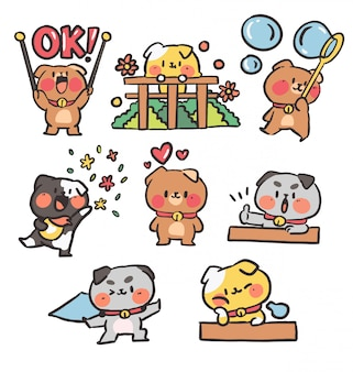 Cute collection of puppies doodle  illustration.