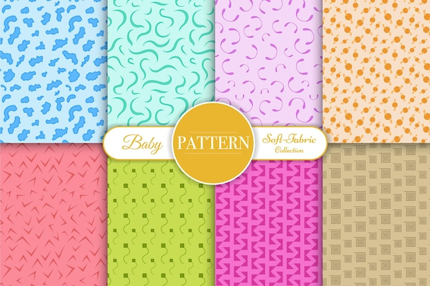 Cute collection of seamless patterns for little baby boy nursery
