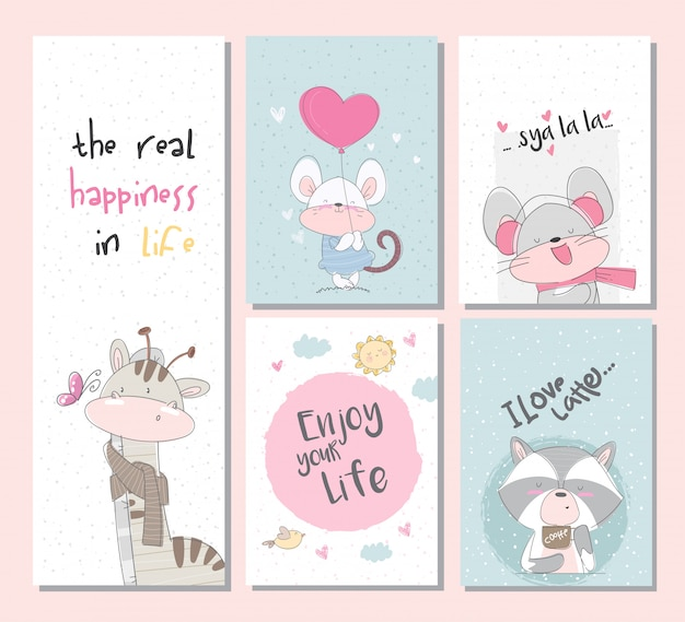Cute collection set animal cards set with giraffe raccoon mouse