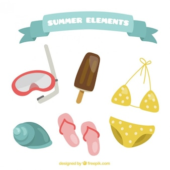Cute collection of summer element