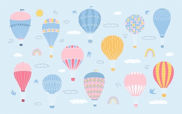 Cute collection various of romantic air balloons, clouds, birds, rainbow in pastel colors. set of icons for children's room design.