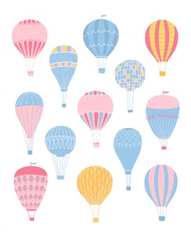 Cute collection various of romantic air balloons in pastel colors isolated on a white background.  illustration