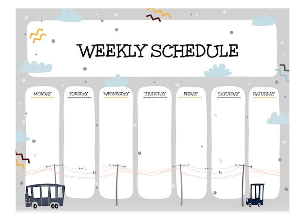Cute collection of weekly schedule template