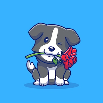 Cute collie dog with red rose cartoon icon illustration. animal romance icon concept isolated premium . flat cartoon style
