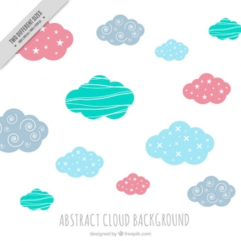Cute colored clouds background with abstract shapes