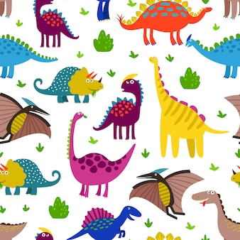 Cute colored dinosaurus seamless pattern