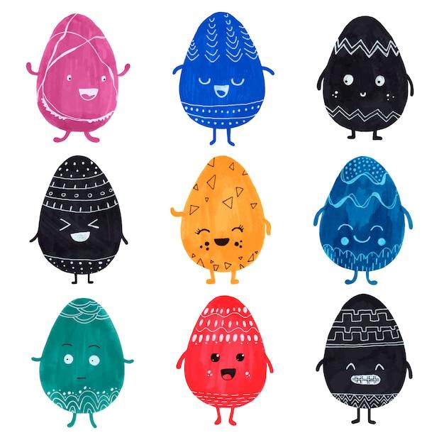 귀여운 착 색된 부활절 달걀