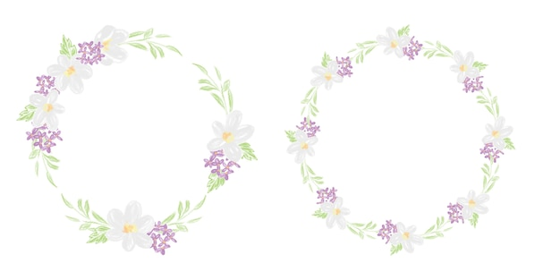 Cute colored pencil style floral flower circle wreath collection