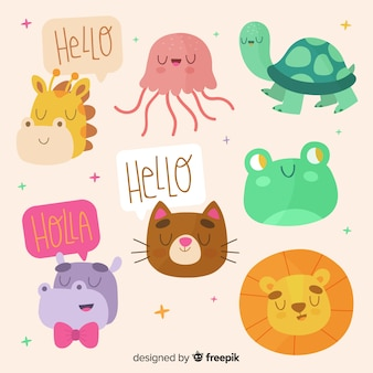 Cute colorful animal collection