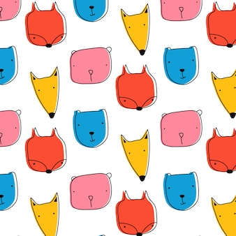 Cute colorful animal pattern hand drawn style