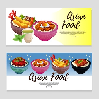 Cute colorful asian food banner