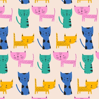 Cute colorful baby cat pattern