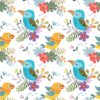 Cute colorful bird with tropical leaf seamless pattern fabric textile.