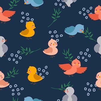 かわいいカラフルな鳥のシームレスなパターンの背景