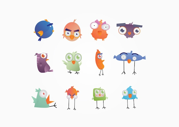 Cute colorful birds vector for design and kids