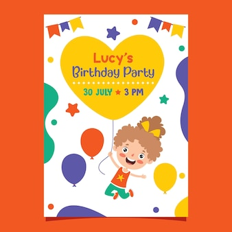 Cute colorful birthday card template